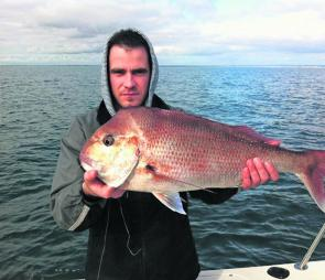 We'll see plenty more of these this month! Greg caught this 5.6kg snapper fishing deep off Carrum.