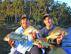 Steve and Nick from Sydney with some quality black bream taken on hardbodied lures and plastics. These were some of 30 odd fish caught for the day.