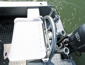 Above there transom there were rod holders and a bait board that comes as an option.