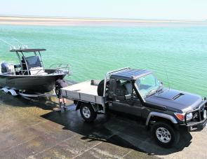 The Extreme 570 Centre Console slipped easily off the Easytow tandem trailer at the main Inverloch boat ramp.