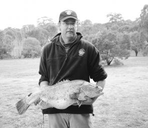 Garry Conley of Tuross Heads headed inland for this 8.63kg cod before the season closed.