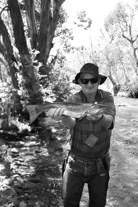 Geoff Johnston holds up a nice brown that was caught in the upper Mitta Mitta (Big) River recently. It rose to a nondescript dry fly and was released after the photo was taken.