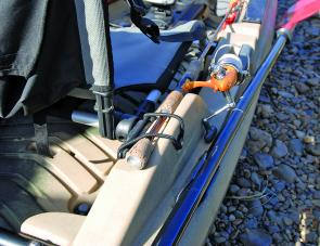 The rod storage system is fantastic. A bungy cord straps over the but end of the rod while the tip is protected by the soft tip protectors meaning overhanging branches do not snag and snap your rod tips. Great practical idea that works.