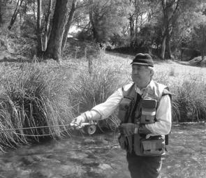 Flyfishing client Peter McCabe on Snowy Creek, which seems be holding a lot of medium size rainbows currently.