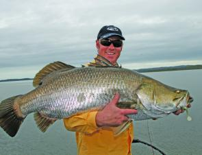 This hefty Awoonga barra fell for a Hollow Belly hopped along the bottom in 3m of water.