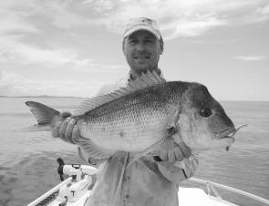 "Chris Blanch with a lovely snapper caught off Lake Cathie on a Berkley 5"" Gulp"