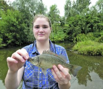Emily Ross holding a beautiful Peel River silver perch that fell to a bunch of worms.