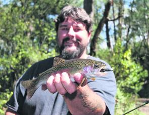 A small rainbow trout caught near Mt Beauty recently on a black Strike Tiger nymph. The Kiewa system is currently holding very good numbers of rainbow trout which will still readily hit a lure in June right up until the creeks and rivers at the end of the