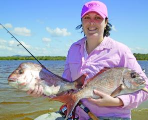 Shae Watson enjoyed her first crack at offshore fishing! Here she displays two snapper caught on plastics using 15lb braid and 20lb leader to a 1/4oz jig head on spin gear.