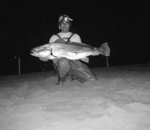 Mimmo Stimoli with a 15kg Winter jew taken from Whale Beach.