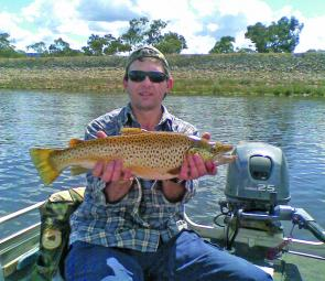 Rodney McNeight's Lake Fyans brown trout of 2.5kg caught trolling soft plastics