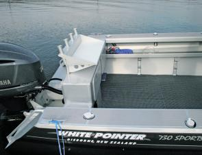 There is plenty of fishing space at the rear of the boat and the easily accessible deck wash helps keep things clean.