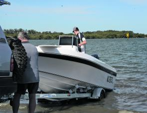 Like most glass boats, drive-on drive-off trailers make launching easy.