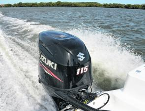 Suzuki's 115hp 4-Stroke was provided ample power for the test craft.
