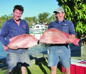Ian MacDonald and his mate, Fitzy, from the Gold Coast with some quality Red Emperor.