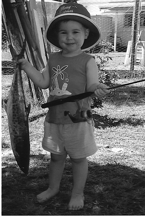 Hayden, with the help of Uncle Mal, shows that spotty mackerel are still around Rodd Harbour.