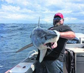 The author with a hefty mako taken early in the season.