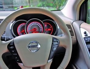 Lots of leather trim and easily read dials are features for the driver of the Murano.