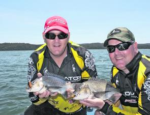 The boys with a double-header of black bream, part of 58 caught and released for the day.