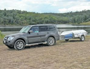Here seen on the shore of Glenlyon Dam, the Pajero diesel made very easy work of towing the Trek Kudu camper trailer.
