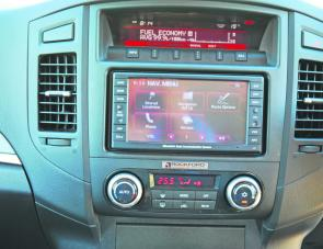 The Pajero's dash layout combined old and new. The sat nav system was an option within the test vehicle.