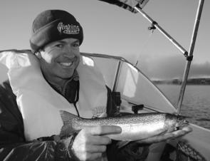 Paul Cavanagh had some fun with this rainbow trout on Lake Jindabyne.