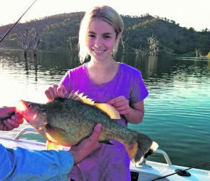 Chloe Moir from Scone with a beaut golden caught trolling up the back of Glenbawn Dam.