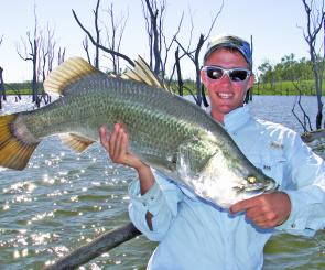 As the barra size increases, they become more of challenge to land around the timber.