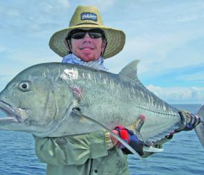 This is a typical good-sized GT caught in the Whitsundays – around 20-25kg.