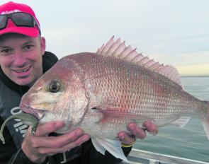 Steve Jennings with a better than average snapper caught flicking plastics in the shallows.