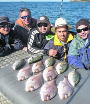 This mixed bag of reds and trevally was caught in 25m off Coogee.