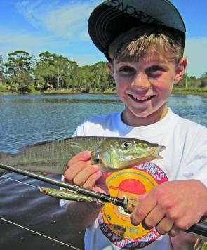 Sam Poulton with a Lake Cathie whiting that couldn't resist a Bassday Sugapen.