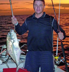 Martin Davis and this trevally become company on a recent trip to the Cape Capricorn wrecks.