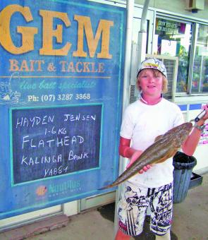 Hayden Jensen caught this 1.6kg flathead on a yabby while fishing the Kalinga Bank.