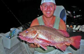 Night fishing using bonito fillets is great for jacks.