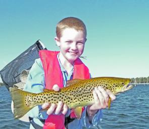 Ben Jeffrey Brown with a trout from Lake Fyans.
