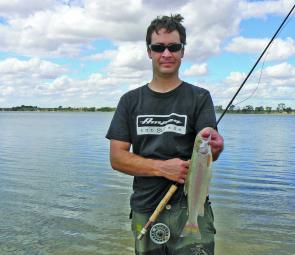 The author has found the flyfishing has been excellent at Natimuk Lake for rainbow trout to 1kg.