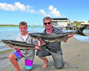 Dean Firth and his son Ryan with a couple of cobia from Thursday's Cougar One charter to North Reef.