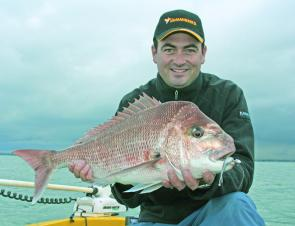 Sean Clancy with a Bay snapper. Big reds like this are still the go-to fish for many anglers in the south of the Bay.