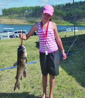 It may not be the prettiest fish young Elizabeth Bishop has ever landed but this 3.72kg catfish gave her a major prize.