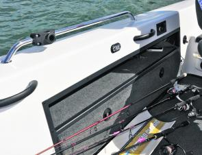 The starboard rod locker can accommodate rods up to 12' long.