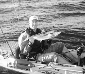 Carl Dubois put his Hobie kayak to good advantage to catch this 69cm kingfish on a soft plastic in Botany Bay.