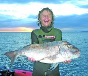 Jake Morris Torelli, 13 year old, and a fine 5.5kg snapper. Spearfishing is a safe sport for the whole family as long as you follow safety procedures.