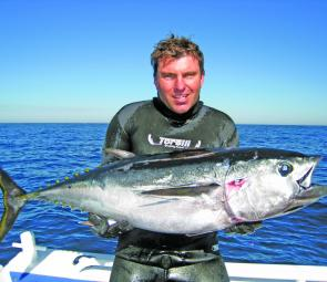 The author and his first ever southern blue fin tuna taken off the Continental Shelf off Portland, Victoria.