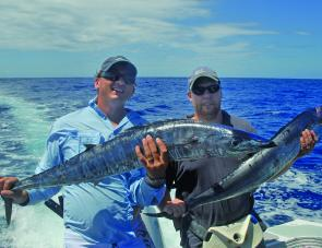 Trolled heavy-headed skirts up to 15 knots are deadly on big wahoo.