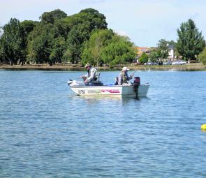 Fly fishing action in the Jim Thomas Memorial on Lake Wendouree. Photo courtesy of Chris Doody.