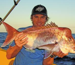 This is local non-stop angler Ben Nothling with a quality snapper from an area wide of Noosa known as 'The Muds'.