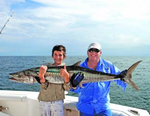 Joel Pearson and with author with a Spanish mackerel.