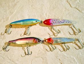 An interesting collection of nude lures. Top right is a Rapala Skitter Walk, underneath is a Shimano Splash Roller. On the right is a Bomber and beneath that is an old Mirrolure Darter.
