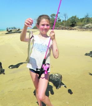 Young Jennifer Attwood caught her very first fish on the beach. Target blind-ended low water gutters for whiting.